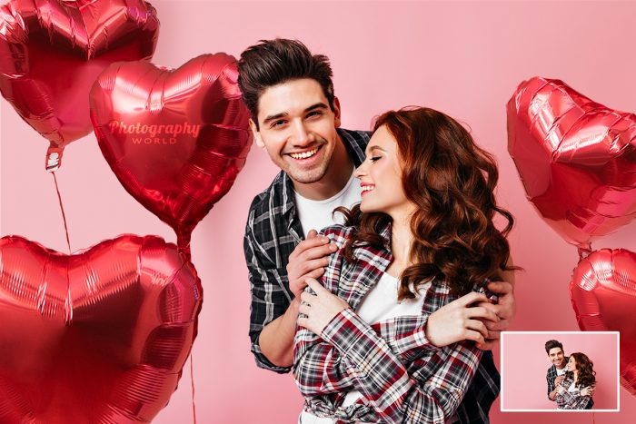 Couple Surrounded Heart Balloons