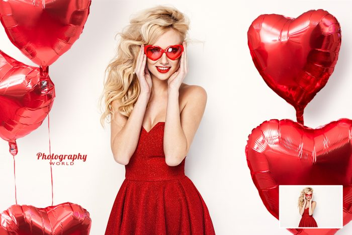 Girl In Red Surrounded By Heart Balloons