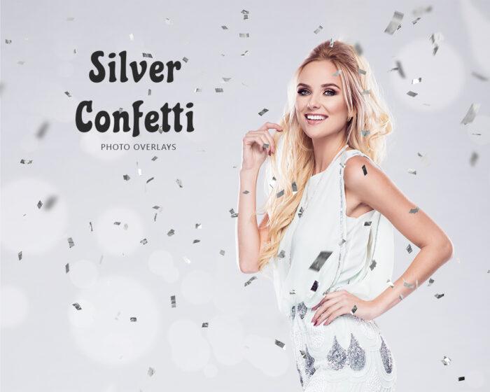 Silver Metallic Confetti Overlay